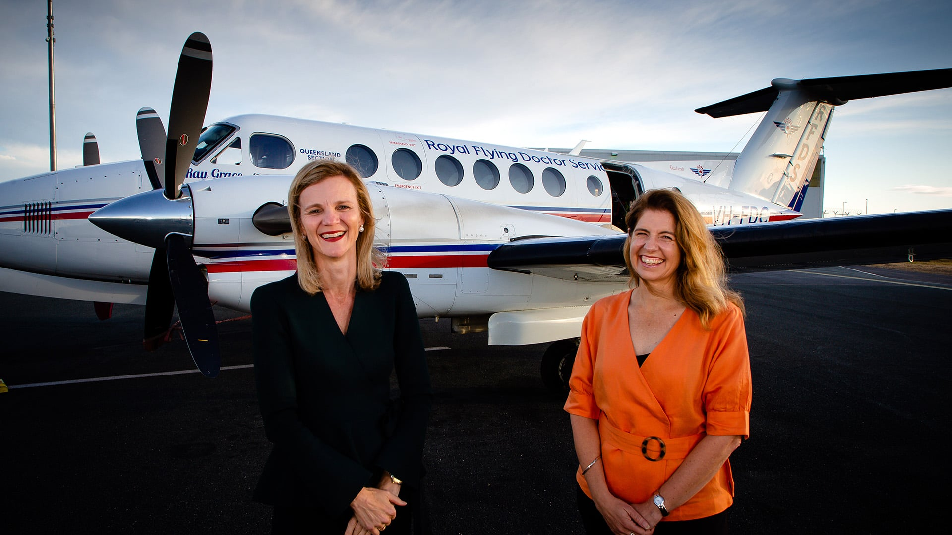 RFDS Qld CEO Meredith Staib and Rio Tinto Aluminium Pacific Operations MD Kellie Parker