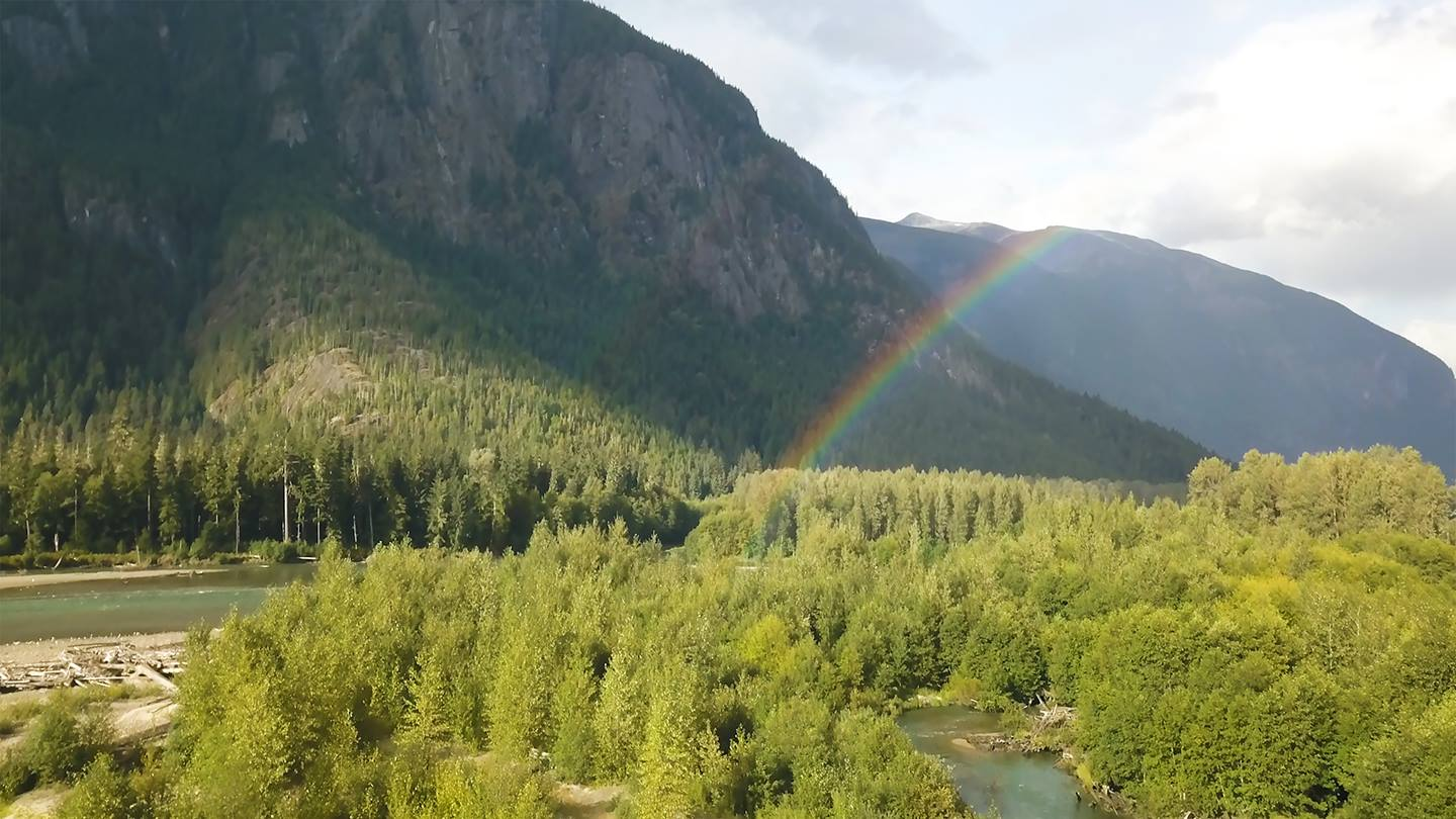 Rainbow in mountains, Canada